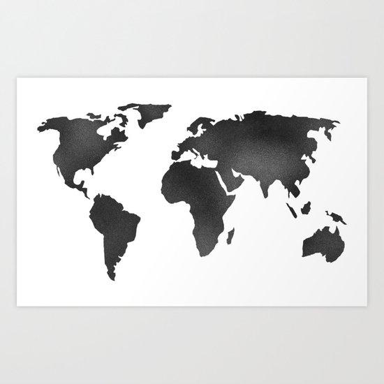 World Map in Textured Black Art Print