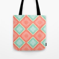 kilim Tote Bags featuring coral mint kilim by musings