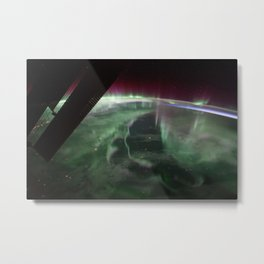 Spectacular aurora borealis, northern lights over Canada from International Space Station color photography Metal Print