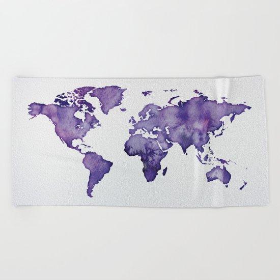 Purple World Map 01 Beach Towel