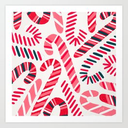 Candy Canes – White Art Print