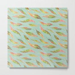 Flowing Watercolour Eucalyptus Leaves Metal Print