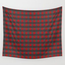 Antiallergenic Hand Knitted Red Grid Winter Wool Pattern - Mix & Match with Simplicty of life Wall Tapestry