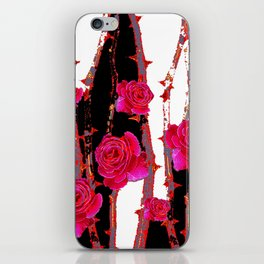 MODERN ART PINK ROSE BLACK & WHITE ART iPhone Skin