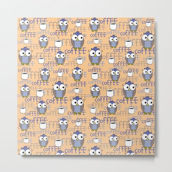 Owl orange pattern  Metal Print