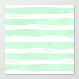 Stripes Mint Green and White Canvas Print