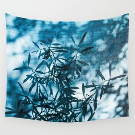 Olive tree leaves silhouette summer blue Wall Tapestry