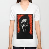 scream V-neck T-shirts featuring Scream by brett66