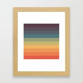Colorful Retro Striped Rainbow Framed Art Print