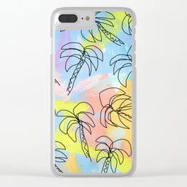 Live This Moment no.1 - illustration palm tree pattern summer tropical beach California pastel color Clear iPhone Case