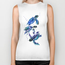 Three Sea Turtles, Marine Blue Aquatic design Biker Tank