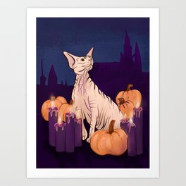 Halloween Sphynx - Candles and Pumpkins in Front of a Castle Art Print