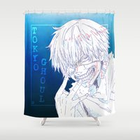tokyo ghoul Shower Curtains featuring Tokyo Ghoul  by Neo Crystal Tokyo