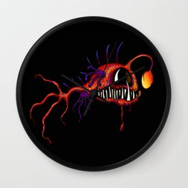 Creatures from the deep dark sea - Red Angler Wall Clock