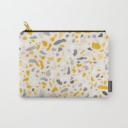 Terrazzo memphis vintage mustard yellow white grey black Carry-All Pouch