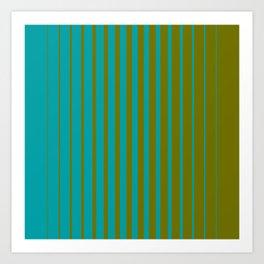 gradient stripes aqua olive Art Print