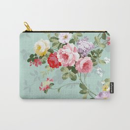Elegant chic pink green roses flowers pattern Carry-All Pouch