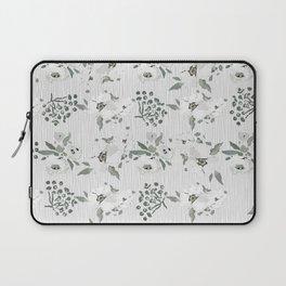 Vintage white mauve green watercolor floral Laptop Sleeve
