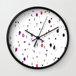 Rainbow bokeh and silver glitter rain Wall Clock