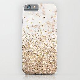 Marble Gold Glitter Confetti iPhone Case