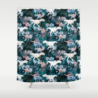 jurassic park Shower Curtains featuring Jurassic by Bobo1325