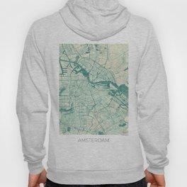 Amsterdam Map Blue Vintage Hoody