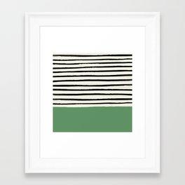 Moss Green x Stripes Framed Art Print