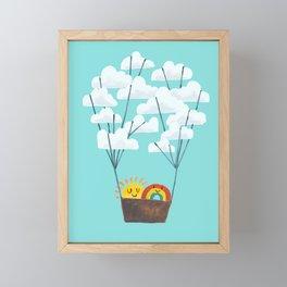 Hot cloud balloon - sun and rainbow Framed Mini Art Print