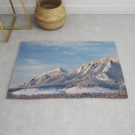 Winter Snow on Flatirons in Boulder Colorado Rug
