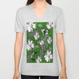 Birds Green Gray White Toile Unisex V-Neck