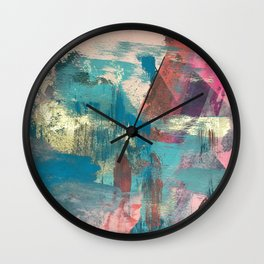 Sugar Rush [2]: a colorful, abstract mixed media piece in pinks, blues, and gold Wall Clock
