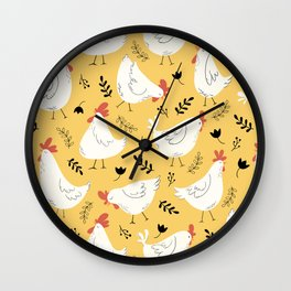 Lovely Little Hens Wall Clock