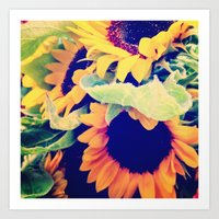 always sunny Art Prints featuring Always Sunny Sunflowers by LeeAnnPoling