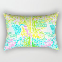 Asian Bamboo Garden in Pink Lemonade Watercolor Rectangular Pillow