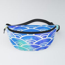 Seigaiha literally means wave of the sea. seamless pattern abstract scales simple Nature background Fanny Pack