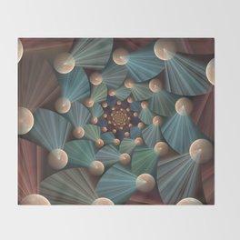 Graphic Design, Modern Fractal Art Pattern Throw Blanket