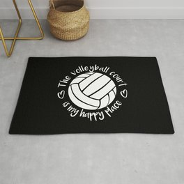 The volleyball court is my happy place typography Rug