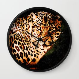 Yellow Leopard Wall Clock