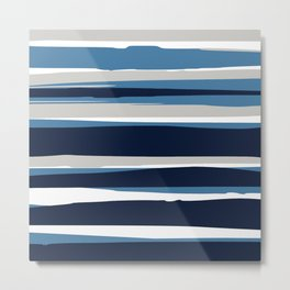 Striped Modern Beach Landscape Blue Grey Metal Print