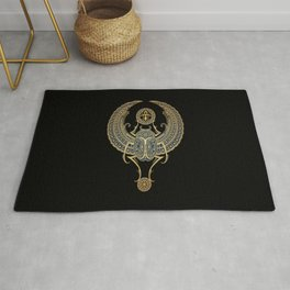 Golden Blue Winged Egyptian Scarab Beetle with Ankh Rug