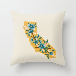 The Golden State of Flowers Throw Pillow