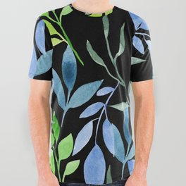 Blue and Green Leaves All Over Graphic Tee
