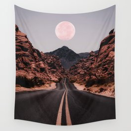 Road Red Moon Wall Tapestry