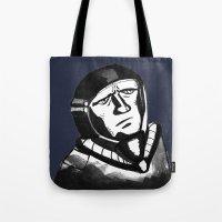 spaceman Tote Bags featuring SpaceMan by Juicebox Farley