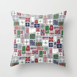 Christmas parcels on gray Throw Pillow