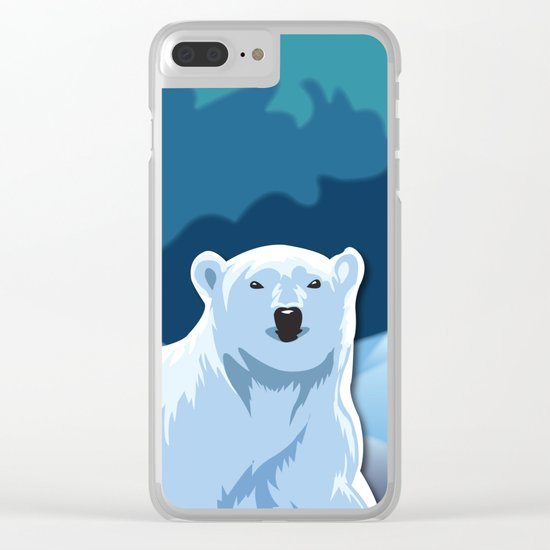 Lonely Polar Bear Clear iPhone Case
