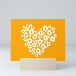 Floral Heart - Orange Mini Art Print