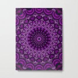 Magenta Fractal Kaleidoscope Metal Print