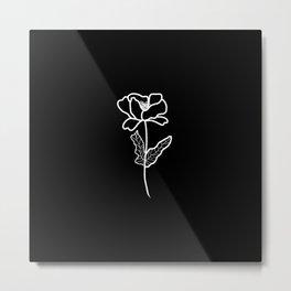 Black and White Poppy Metal Print