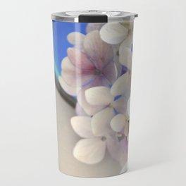 Pale pink Hydrangea flowers in blue bowl. Travel Mug